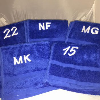 Personalised towels numbers and initials, this was an order we did today for a netball team from everyone at Backyard Embroidery good luck.