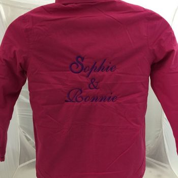 Personalised back piece on a jacket.